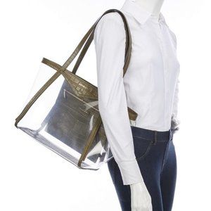 Michael Kors Whitney Clear inset Tote in Olive